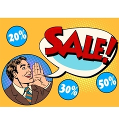 The man announces sale and discounts vector