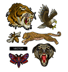 Tiger eagle leopard and panther embroidery vector