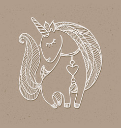 unicorn drawing white vector image vector image