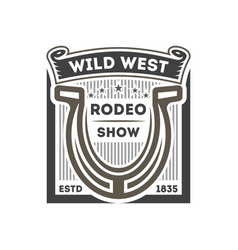 wild west rodeo show isolated label vector image vector image