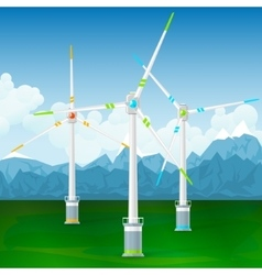 Wind Turbines on a Background of Mountains vector image vector image