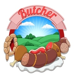 With meat and butcher vector