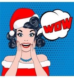 Wow bubble woman in christmas hat vector