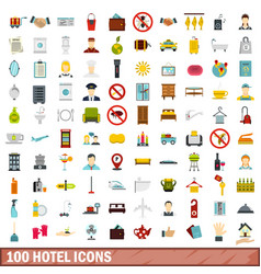 100 hotel icons set flat style vector