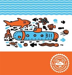 Submarine print for kids vector