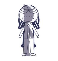 Blue color contour caricature man in wedding suit vector