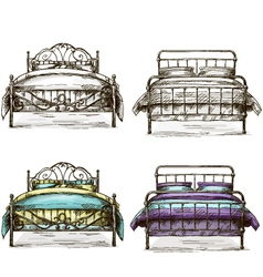 set of beds drawing sketch style vector image