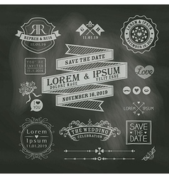 Vintage wedding frames on chalkboard background vector