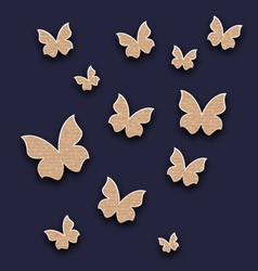 Wallpaper with butterflies made in carton paper vector
