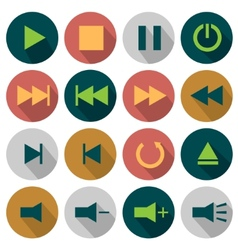 Flat media icons vector