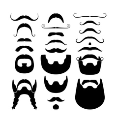 Moustaches and beards silhouettes icons vector