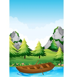 Rowboat floating in the river vector