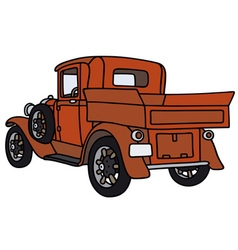 Vintage red pick-up vector