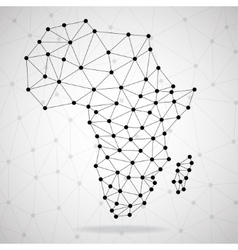 Abstract polygonal africa map with dots and lines vector