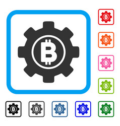 bitcoin development gear framed icon vector image vector image