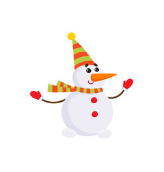cartoon snowman character in striped scarf vector image