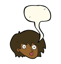 Cartoon surprised female face with speech bubble vector