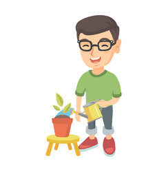 Caucasian boy watering plant with a watering can vector