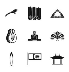 Country sri lanka icons set simple style vector