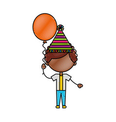 Cute boy with balloon air character vector