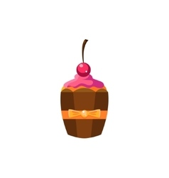 Cute cupcake with cherry on top vector
