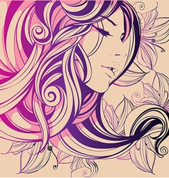 Decorative composition with girl flowers in her vector