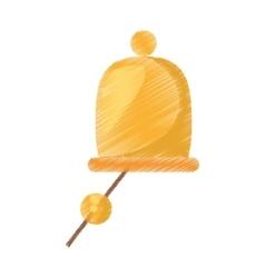 Drawing gold ship bell nautical symbol vector