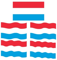 Flat and waving flag of luxembourg vector