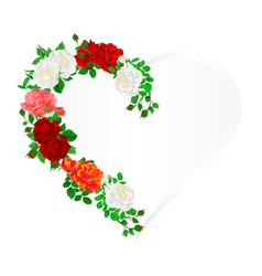floral frame heart with roses and buds vintage vector image
