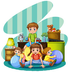 Four children playing in room vector