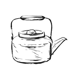 hand drawn graphic ink sketch of teapot vector image