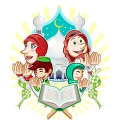 Islam eid mubarak greeting card vector