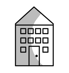 Line house with roof and windows with door vector