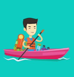 man riding in kayak vector image vector image