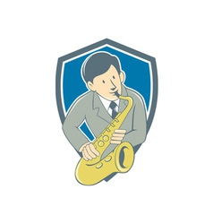 Musician Playing Saxophone Shield Cartoon vector image vector image