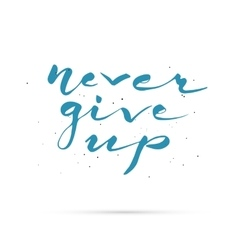 Never give up hand lettered calligraphic design vector