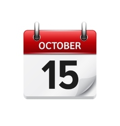 October 15 flat daily calendar icon date vector