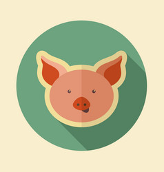 Pig flat icon animal head vector
