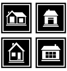 Set black house icons vector