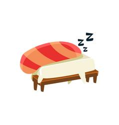 Sleeping funny maki sushi character vector