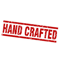 Square grunge red hand crafted stamp vector