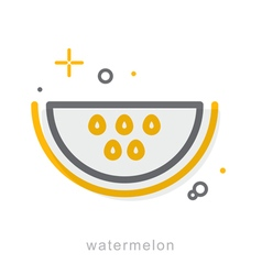 Thin line icons watermelon vector
