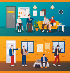 Unemployed people flat compositions vector