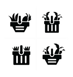 Vegetable and cart icon set vector