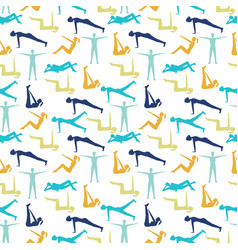 yoga poses and health care pattern for fitness vector image vector image
