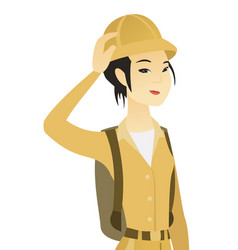Young asian traveler scratching head vector