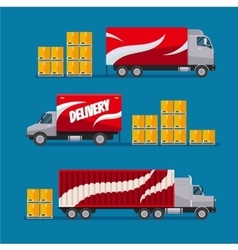 Fast delivery red trucks set with parcel boxes vector