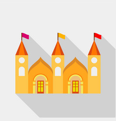 Residential mansion with towers and flags icon vector