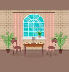 Loft interior design living room with brick wall vector