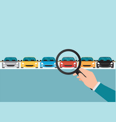 Magnifying glass in human hand with car vector